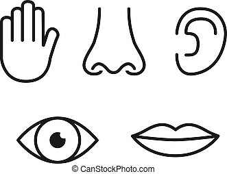 Outline icon set of five human senses: vision (eye), smell (nose), hearing (ear), touch (hand), taste (mouth with tongue)