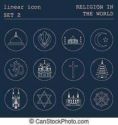 Outline icon set Religion