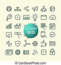Outline icon set. Web and mobile app thin line icons. SEO