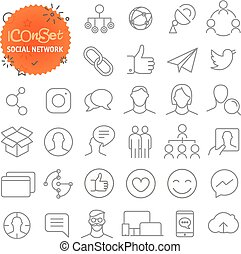 Outline icon set. Web and mobile app thin line icons. Social...