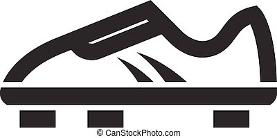 Soccer Shoe icon in thick outline style. Black and white monochrome vector illustration.