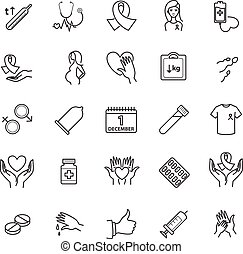 Outline icons - aids, hiv, therapy, opportunistic disease, treatment