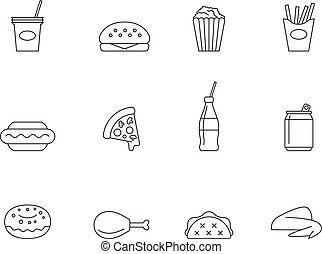 Outline icons fast food