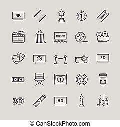Outline icons - movie, cinema, video