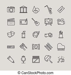 Outline icons set - art, entertament, drawning tools