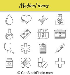 Outline icons set. Medical icon