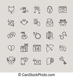 Outline icons set - valentine's day, love