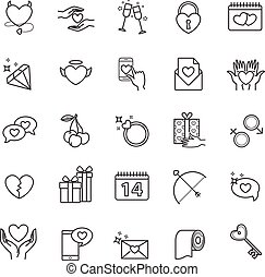 Outline icons - valentine's day, love set