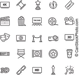 Outline icons vector set - movie, cinema, video