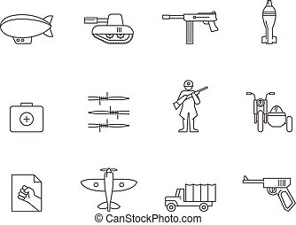 Outline Icons - World War - World War icons in thin...