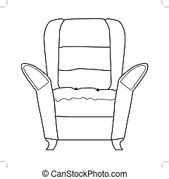 outline illustration of armchair, part of interior