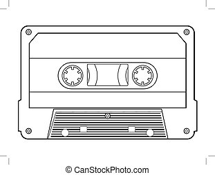 audio cassette - outline illustration of audio cassette,...