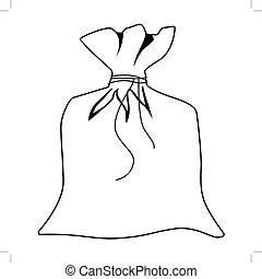 closed sack - outline illustration of closed sack