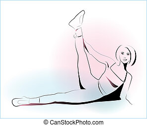 outline illustration of girl doing stretching exercise