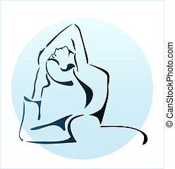 outline illustration of girl doing yoga exercise