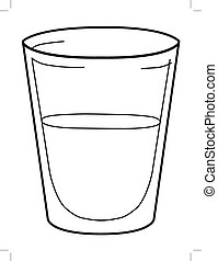 glass of water - outline illustration of glass of water