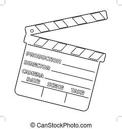 outline illustration of movie clapper, cinema object