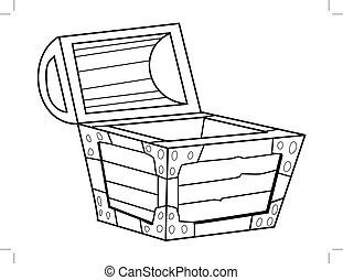 outline illustration of vintage coffer
