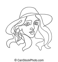 Outline illustration of woman in hat