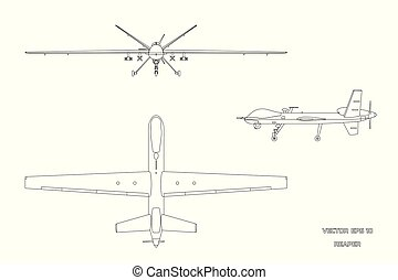 Outline image of military drone. Top, front and side view. Army aircraft for intelligence and attack. Industrial isolated drawing. Vector illustration
