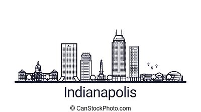 Outline Indianapolis banner - Linear banner of Indianapolis ...