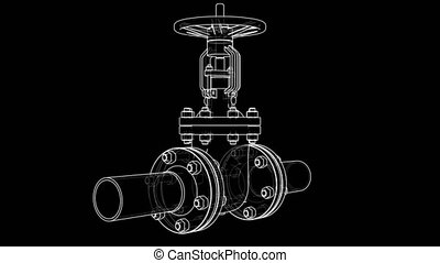 Outline industrial valve. 3D illustration video
