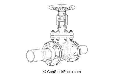 Outline industrial valve. 3D illustration video