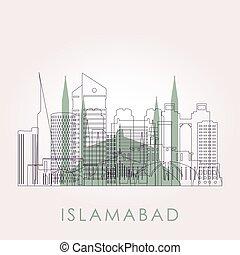 Outline Islamabad skyline with landmarks.