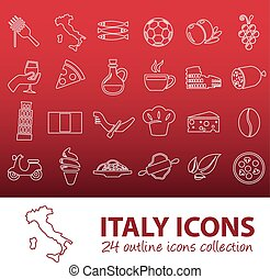 outline italy icons