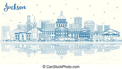 Outline Jackson Mississippi City Skyline with Blue Buildings and Reflections. Vector Illustration. Tourism Concept with Historic Architecture. Jackson USA Cityscape with Landmarks.