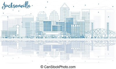 Outline Jacksonville Skyline with Blue Buildings and Reflections. Vector Illustration. Business Travel and Tourism Concept with Modern Architecture. Image for Presentation Banner Placard and Web Site.