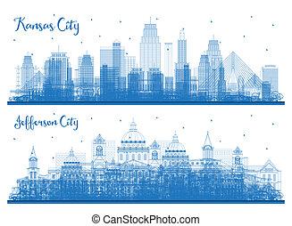Outline Jefferson City and Kansas City Missouri Skyline Set.