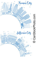 Outline Jefferson City and Kansas City Missouri Skylines with Blue Buildings and Copy Space.