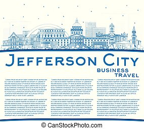 Outline Jefferson City Missouri Skyline with Blue Buildings...