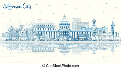 Outline Jefferson City Missouri Skyline with Blue Buildings ...