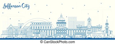 Outline Jefferson City Missouri Skyline with Blue Buildings....