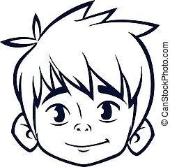 outline., jongen, hoofd, kleuren, illustratie, boek, vector, spotprent, vrolijke