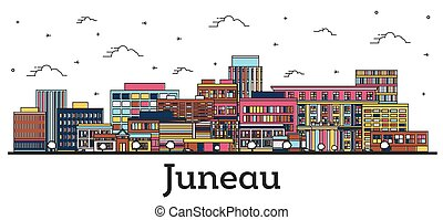 Outline Juneau Alaska City Skyline with Color Buildings ...