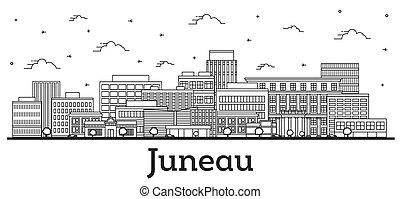 Outline Juneau Alaska City Skyline with Modern Buildings ...