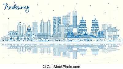 Outline Kaohsiung Taiwan City Skyline with Blue Buildings ...