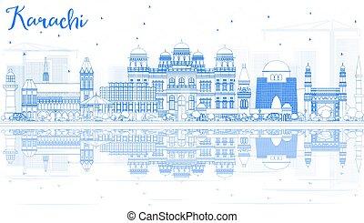 Outline Karachi Skyline with Blue Landmarks and Reflections.