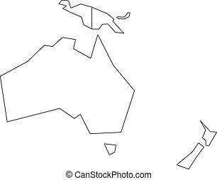 outline., karta, australien, oceania., wireframe, politisk, illustration, vektor, förenklat, svart