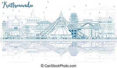 Outline Kathmandu Skyline with Blue Buildings and Reflections.