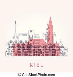 Outline Kiel skyline with landmarks. Vector illustration.