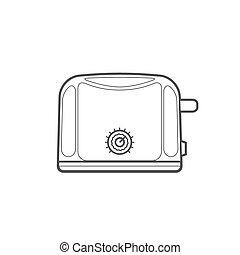 outline kitchen toaster illustration