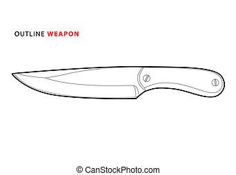 outline knife - outline vector knife on white background