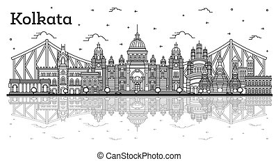 Outline Kolkata India City Skyline with Historic Buildings and Reflections Isolated on White. Vector Illustration. Kolkata Cityscape with Landmarks.