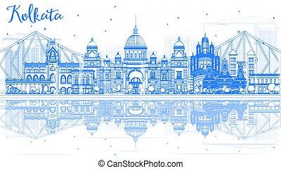 Outline Kolkata Skyline with Blue Landmarks and Reflections.