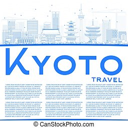Outline Kyoto Skyline with Blue Landmarks and Copy Space.