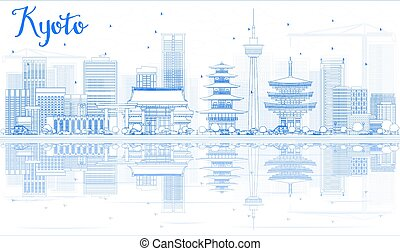 Outline Kyoto Skyline with Blue Landmarks and reflections.